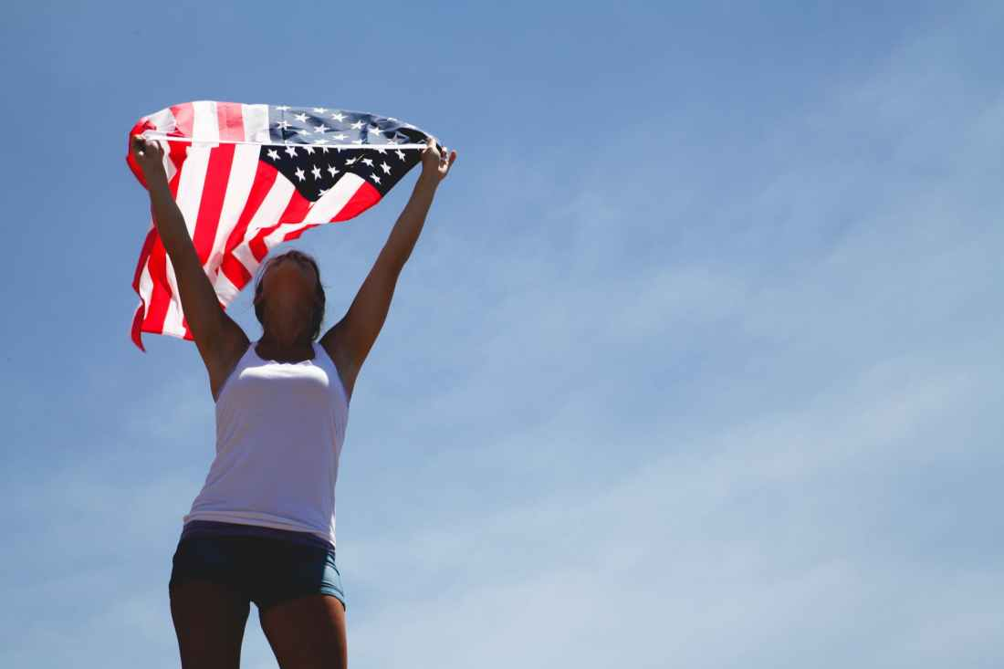 woman women united states of america flag